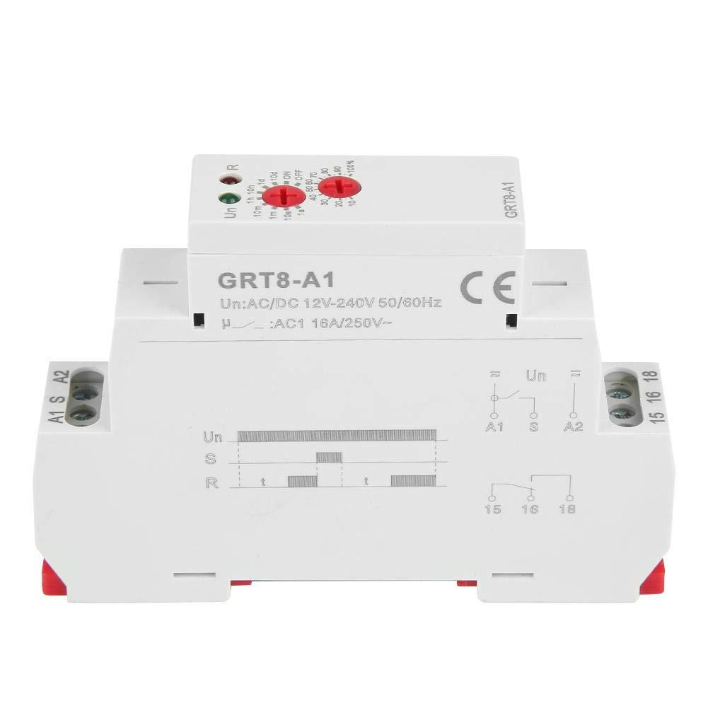 Interruptor del temporizador de retardo GRT8-A1 CA//CC 12V ~ 240V Mini Encendido Rel/é de retardo de tiempo Carril DIN 35mm Interruptor del rel/é de temporizador de retardo para control industrial