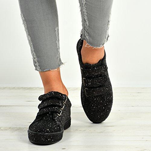 Cucu Fashion New Womens Ladies Glitter Sparkle Trainers Sneakers Plimsoll Shoes Black 1gw4r4