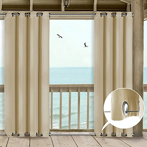 NICETOWN Patio Indoor Outdoor Curtain 95 Microfiber Thermal Insulated Silver Grommets Room Darkening Windproof Curtain/Drape for Outdoors and Indoors (1 Panel,52 Inch Wide by 95 Inch Long, Beige) (Sunroom Curtains)