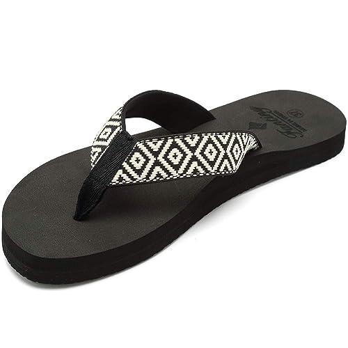sale retailer a7e81 4df87 CIOR Women's Flip Flops Sandal with Arch Support for  Women,U118STX022,Black.WTHIE,42