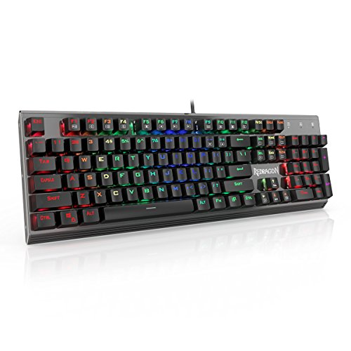Redragon K570 PARTRYUSA RGB Backlit Mechanical Gaming Keyboard, Blue Switch, Gunmetal Solid Aluminum Base,104 Keys ()
