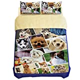 EsyDream Home Bedding Sets,3D Printing Animal Dog Wolf Cat Duvet Cover,100% Polyester Cat Bedlinen,Dog Bed Sheet(No Comforter),Twin Size
