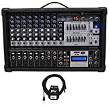 Rockville RPM109 12-Ch 4800w Powered Mixer, 7 Band EQ, FX, USB, 48V+Peavey Cable