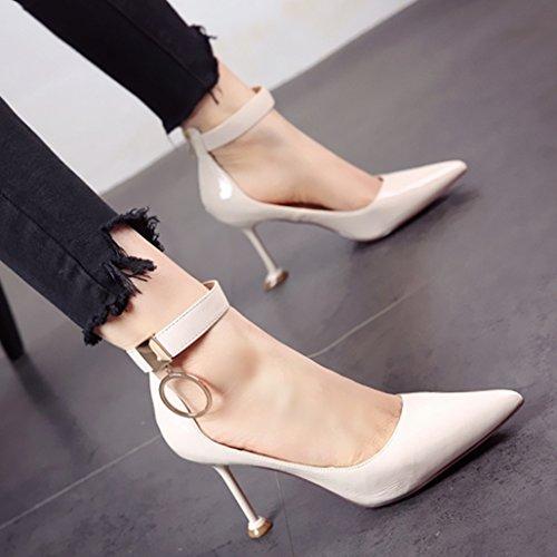 YMFIE La Primavera y el Verano de Estilo Europeo con Cremallera metálica Delgada Laca Superficial y señaló Zapatos de tacón Sandalias de Damas. a