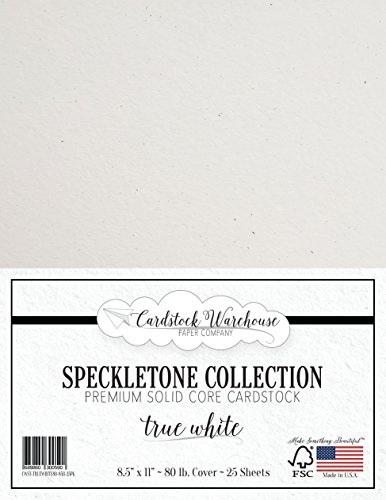 True White SPECKLETONE Recycled Cardstock Paper - 8.5 x 11 inch - Premium 80 LB. Cover - 25 Sheets