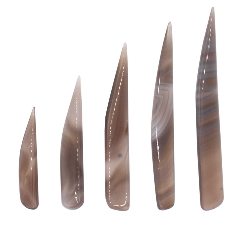 NIUPIKA Agate Burnisher Knife Craft Polishing Tool for Gold and Sliver 5-Pieces HBM0020