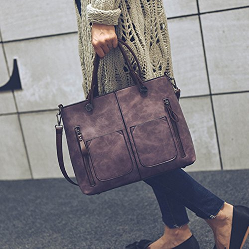 Crossbody Satchel Solid Handle Capacity Bags JOSEKO Purse Brown Bags Top Leather Dating Handbags Tote Retro Women Soft Large 645qqR