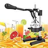 Yaheetech Commercial Metal Hand Press Citrus Orange Lemon Juicer - Heavy Duty Manual Fruit Squeezer with Stainless Steel Funnel Black