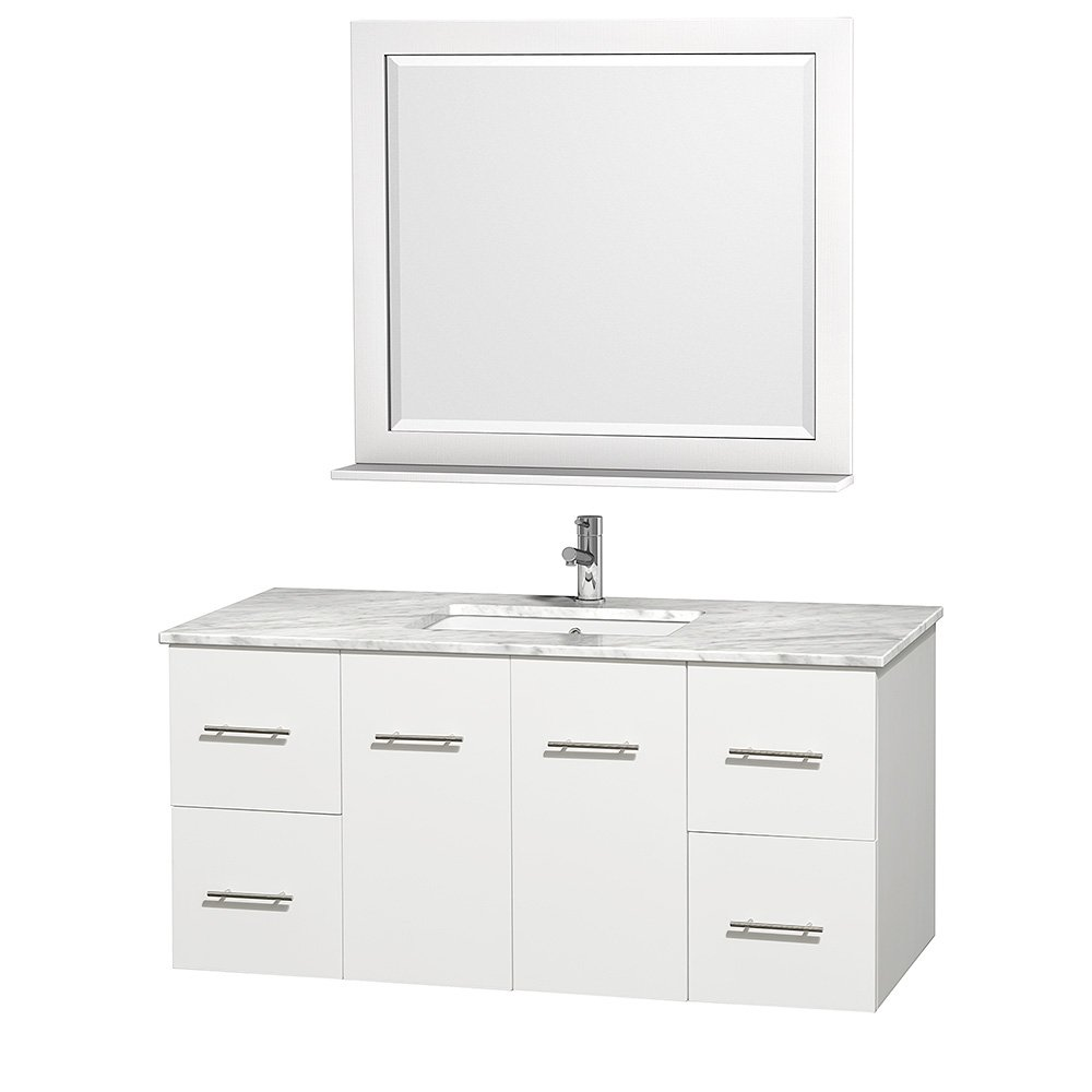 Wyndham Collection Centra 48 Inch Single Bathroom Vanity In Espresso With  White Carrera Top With Square Porcelain Undermount Sink - - Amazon