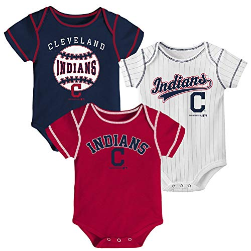 MLB Newborn Infants Ball Park 3 Piece Bodysuit Creeper Set (Cleveland Indians, 18 Months)