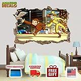"AMAZING DECALZ Curious George Run Funny Graphic Broken Wall 3D Sticker Decal Removable Mural Decor Art Wallpaper Baby Kids Children Nursery Living Room Peel & Stick (Medium (Height 16.5""x 25"" Wide))"