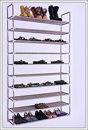 Schuhregal 50 Paar Schuhe.Spetebo Xxl Schuhregal Mit 10 Großen Ablagen Für 50 Paar Schuhe Metall Schuhablage Schuhschrank Schuhregale Mit Stabilen Stoffablagen