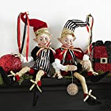 30 Inch Tall Set of 2 Posable Elves, 2017 Christmas Elves in Red, Black and Gold