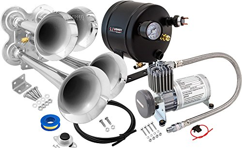 Vixen Horns Loud 149dB 4/Quad Chrome Trumpet Train Air Horn with 0.5 Gallon Tank and 150 PSI Compressor Full/Complete Onboard System/Kit VXO8805/4114 Train Horn System