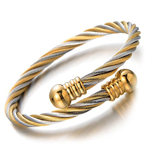 COOLSTEELANDBEYOND Elastic Adjustable Steel Twisted Cable Cuff Bangle Bracelet for Mens for Women Silver Gold Two-tone ()
