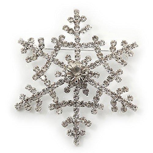(Avalaya Clear Swarovski Crystal 'Christmas Snowflake' Brooch in Silver Plating - 5.5cm Diameter)