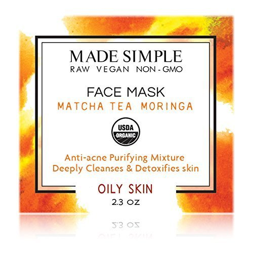 Matcha Tea Moringa Face Mask (Certified Organic) by Made Simple Skin Care