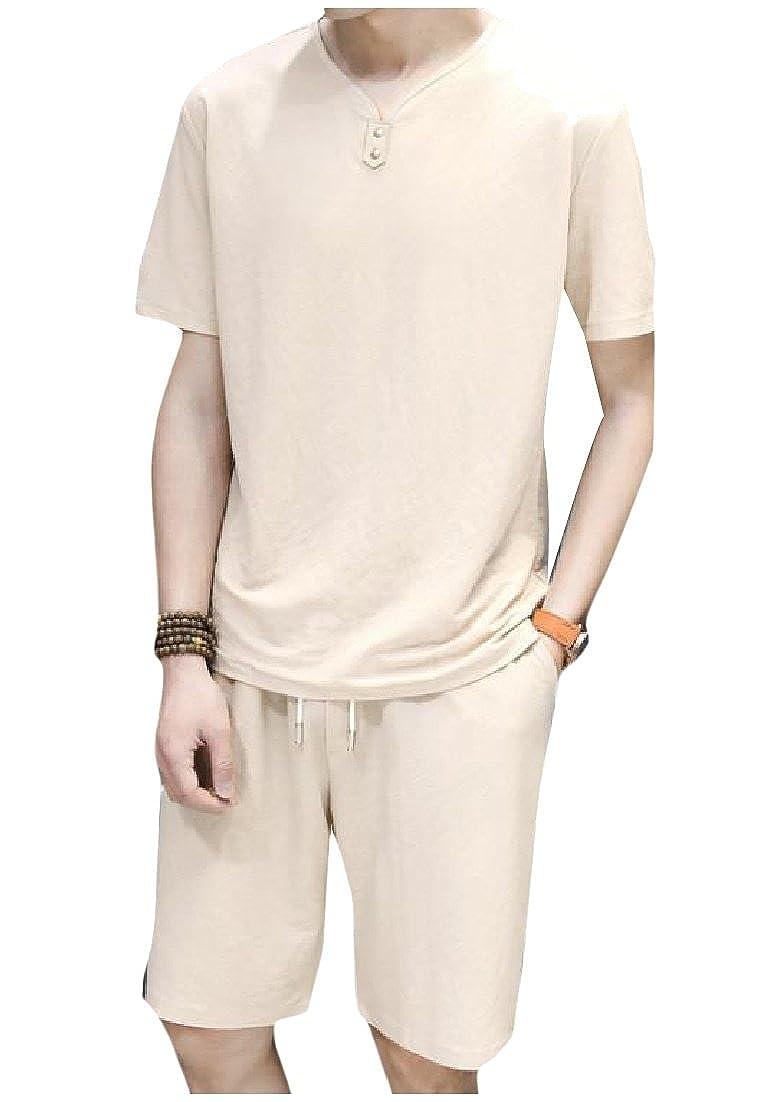 ANDYOU-Men V cuello corto Bolsillos Sleve de lino color puro ...