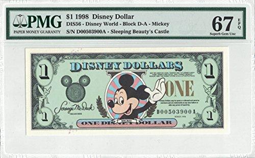 - Disney Dollar 1998 D $1 Mickey Mouse D00503900 PMG 67 EPQ Superb Gem Unc