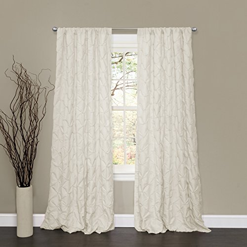 (Lush Decor Lake Como Embroidered Diamond Pattern Textured Ivory Window Curtain Panel for Living Room, Dining Room, Bedroom (Single Curtain), 84