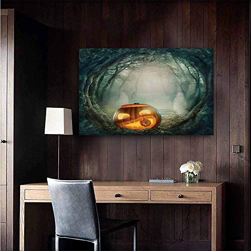 duommhome Halloween Abstract Painting Drawing of Scary Halloween Pumpkin Enchanted Forest Mystic Twilight Party Art Natural Art 32