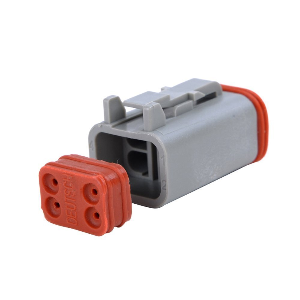 MUYI 10 Kit 4 Pin Way DT Series Connector Gray Receptacle IP67 Waterproof Heavy Duty 14-20 AWG 13 Amps Continuous DT04-4P DT04-4S w/Wedge Lock W4P W4S (10 Kits, 4 Pin) by MUYI (Image #4)
