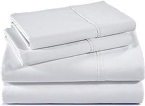 100% Cotton Sheet Set Queen White Sheet Sets Queen Size - 400 Thread Count Sheets Queen -Long Staple Cotton Queen Sheets-Sateen Sheets Queen Size-Silky Soft Sheets-Deep Pocket Fitted Sheet