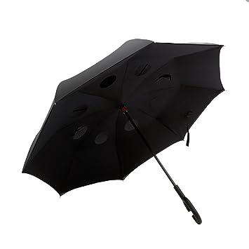 GCC Paraguas invertido, Doble capa larga Mango grande Paraguas sin manos del coche Hombres y