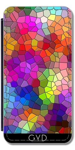 Leder Flip Case Tasche Hülle für Apple iPhone 6/6S - Buntes Mosaik-Stil by WonderfulDreamPicture