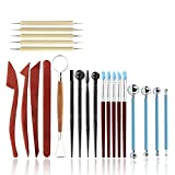 SODIAL 23PCS pottery sculpture kit, including wooden embellishment tools, silicone tip, ball pen tools, modeling tools, pottery tools, wooden ceramic tools