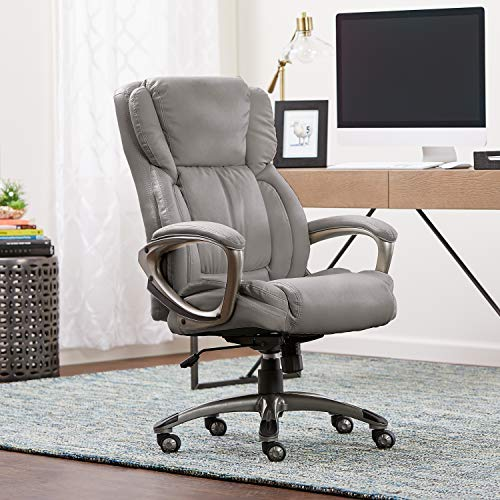 Serta Works Executive Office Chair, Bonded Leather, Gray Millwork Holdings Co., Inc.