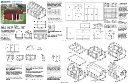 Porch Barn Roof Style Dog House Project Plans, Pet Size up to 150 ...