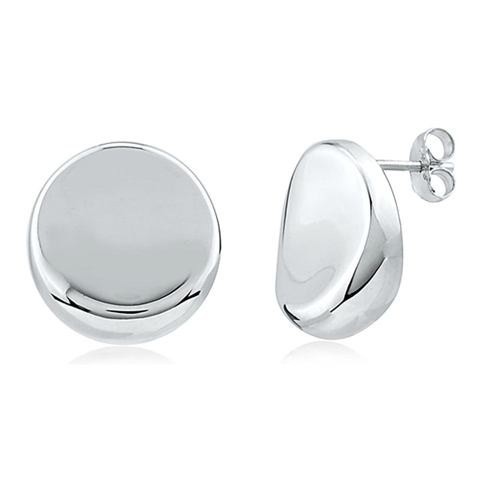 Silver /& Post Stylish Women/'s Button Stud Fashion Earrings Design Burlap Gift Box Included