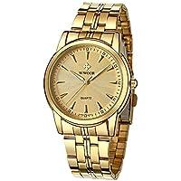 WWOOR Store Unisex Classic Luxury Watch Analog Quartz Watch Business Casual Stainless Steel Watch Fashion Wristwatch Waterproof Watch for Women Men(Gold & Blue & Black)