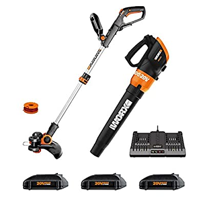"""Worx WG921.1 Cordless 20V 12"""" Trimmer and Turbine 20V Cordless Blower; 3 20V Batteries, and 2-hr Dual Charger Included"""