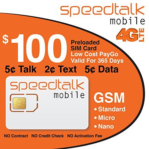 1 Year Prepaid SIM Card Talk Text Data $100 Service Included by SpeedTalk Mobile