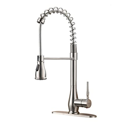 VAPSINT Commercial Lead Free High Arch Spring Brushed Nickel Pull Down Spring Kitchen Faucets Kitchen Sink Faucets With Deck Plate - - Amazon.com  sc 1 st  Amazon.com & VAPSINT Commercial Lead Free High Arch Spring Brushed Nickel Pull ...
