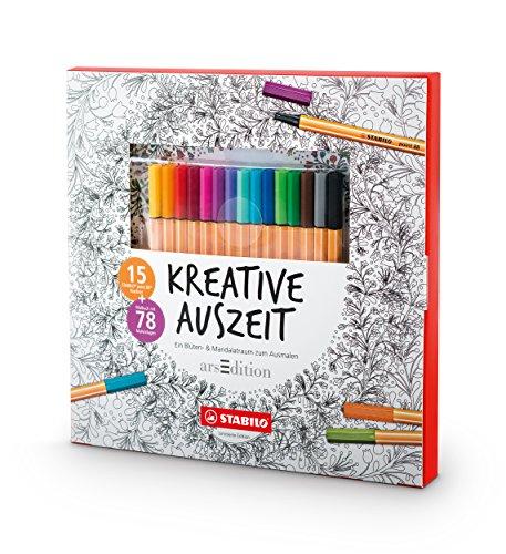 STABILO Kreative Auszeit (Malbuch für Erwachsene + 15 point 88 Fineliner)