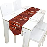 Yochoice Table Runner Home Decor, Vintage African Beautiful Ethnic Dancing Woman Table Cloth Runner Coffee Mat for Wedding Party Banquet Decoration 13 x 70 inches
