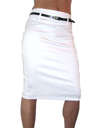 Amazon.com: ICE (2347) pencil skirt stretch sateen   FREE belt ...