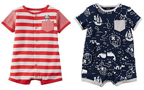Carter's Baby Boy's 2 Pack Cotton Romper (Stripe/Print, 3 Months) ()