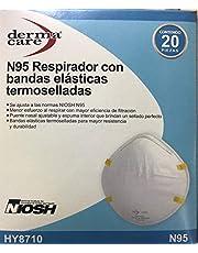 RESPIRADOR con Bandas ELASTICAS TERMOSELLADAS MASCARILLA N95 CUBREBOCAS TAPABOCAS (Blanco) Caja con 20 Piezas