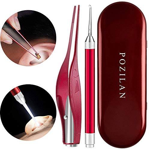 2 Pack Ear Wax Removal Tool with Light - Ear Pick Cleaner Kit for Humans, Earwax Spoon Digger & Tweezers for Ear Health Care Gift Set with Case (Red)