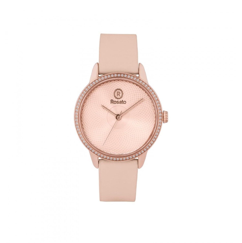 Uhr RosÉ Damen rwro08 Quarz (Batterie) Stahl Quandrante Gold Pink Armband Leder