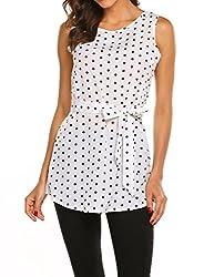 Womens Casual Chiffon Blouse Elegant Round Neck Polka Dot Sleeveless Blouses Shirt Tops