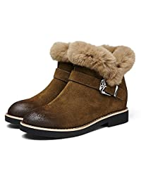 Women 's winter snow boots thicking short boots warm hairy belt buckle shoes ( Color : Brown , Size : US:6.5\UK:5.5\EUR:38 )