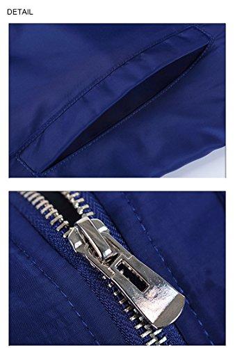 manga Cremallera Hombre para Chaqueta de larga clásico hombre Abrigo Bomber Outwear Azul awAtxa0q
