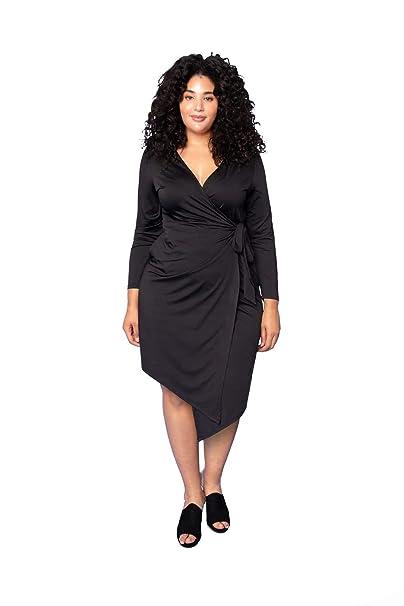 URBAN AFFAIR Women\'s Plus Size Dress Solid V Neck Knee ...