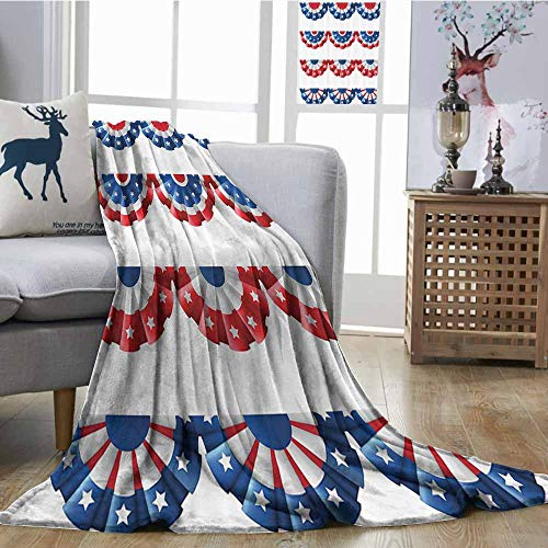 Home Throw Blanket American Flag Decor Flag Round Bunting Election Ornament Politic Union Ribbon Event Pattern Blanket for Sofa Couch Bed W54 xL84 Blue ()