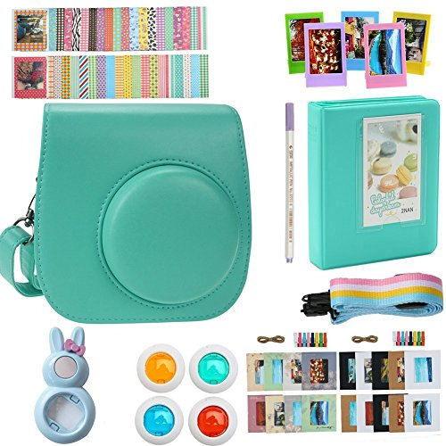 Alohallo Instax Mini 9 Mini 8 Mini 8 + Accessories for FujiFilm Instax Mini 8/ 8+/ 9 Instant Film Camera with Camera Case/ Lens / Mini Album/ Color Frame/ Sticker / Strap/ Pens/ Filter(Mint)